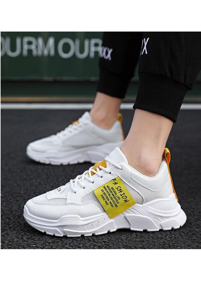 Giày thể thao nam tăng 7 cm chiều cao Ulzzangboy, cá tính Hot 2019 - Trắng - 44