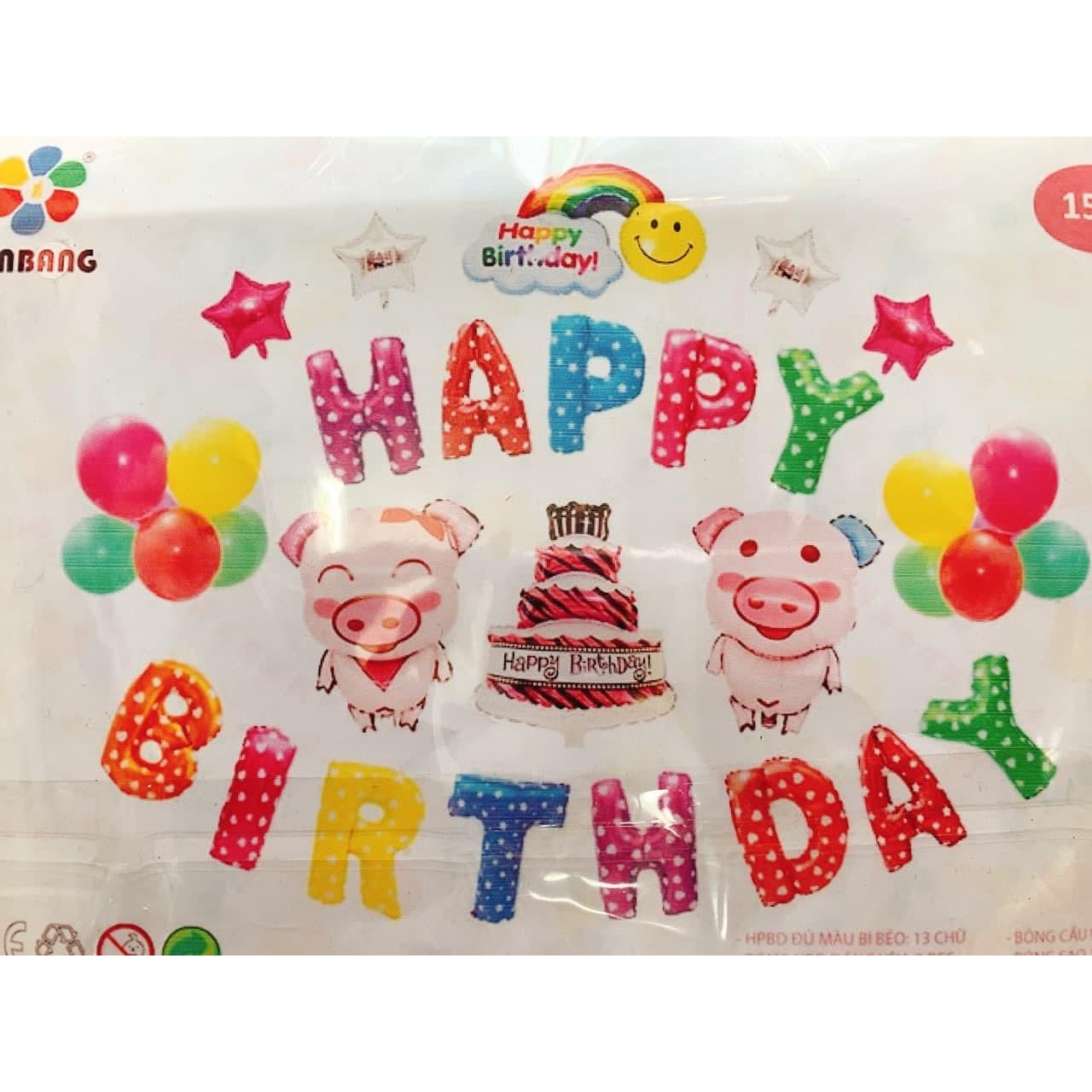 Set bóng kiếng happy birthday cho bé gái tuổi heo