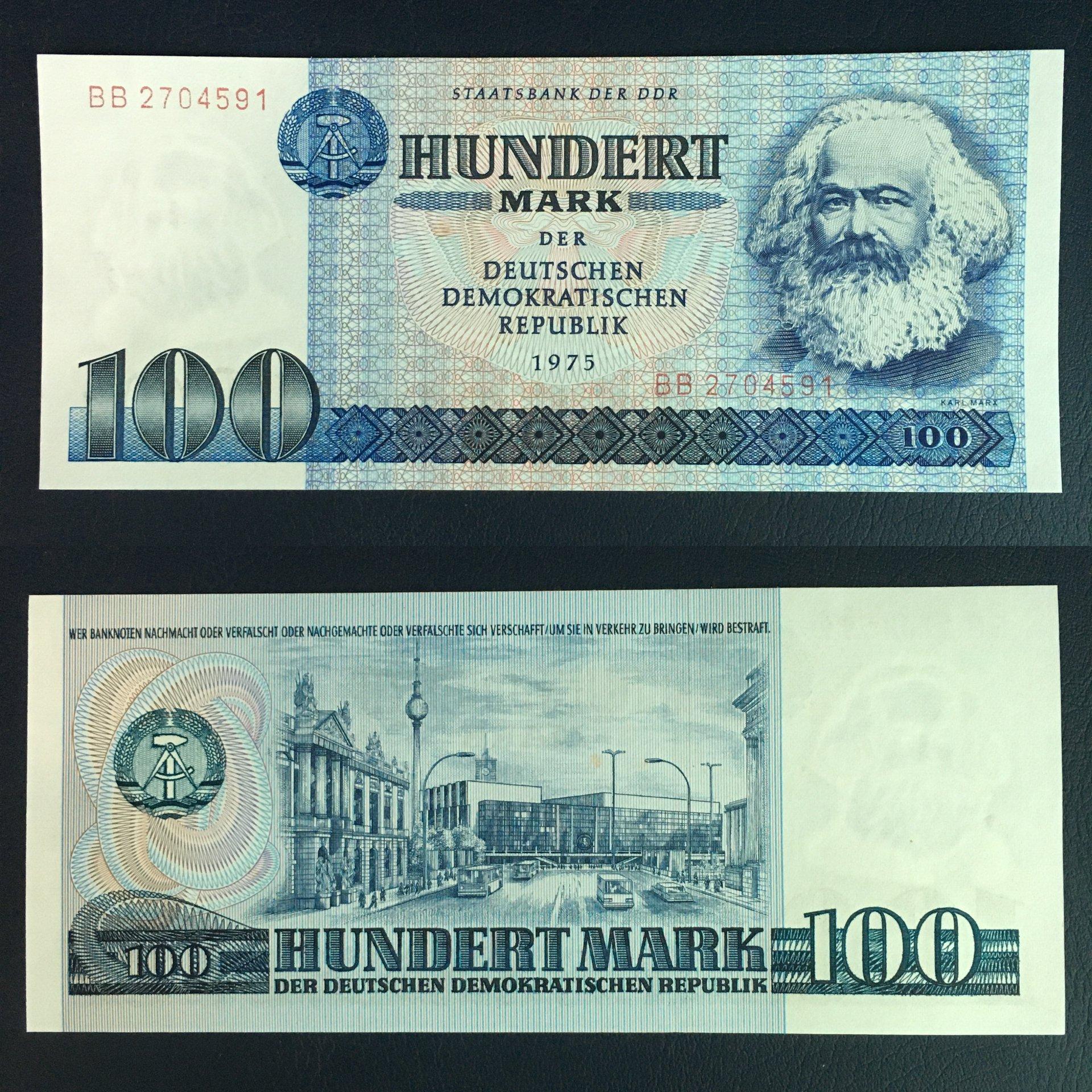 Tờ tiền 100 Mark Đức chân dung Các Mác xưa năm 1975 - mới 100% UNC - tặng kèm bao lì xì