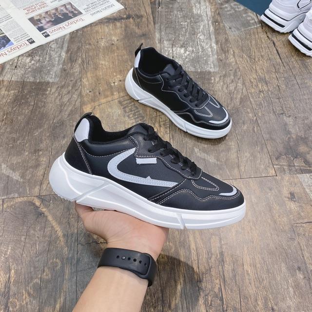 Giày thể thao nam; giáy sneaker da nam vệt phản quang 8818