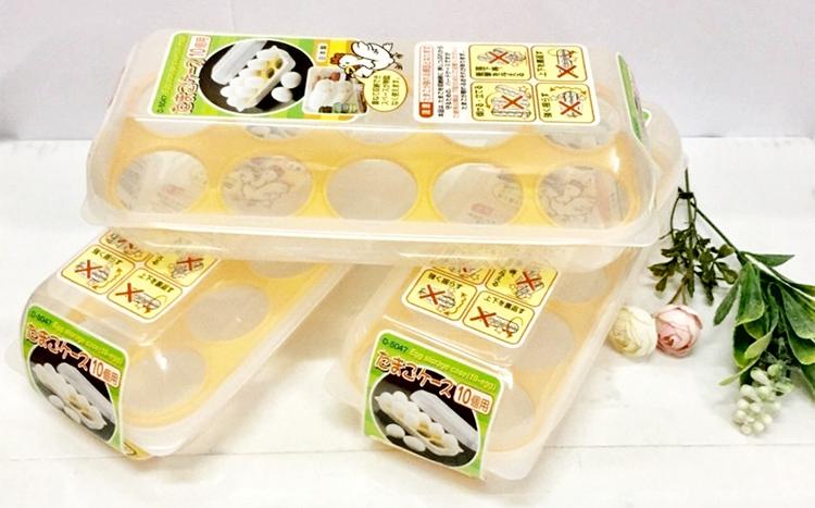Khay Đựng Trứng 10 Ngăn Có Nắp Đậy - Nội Địa Nhật Bản
