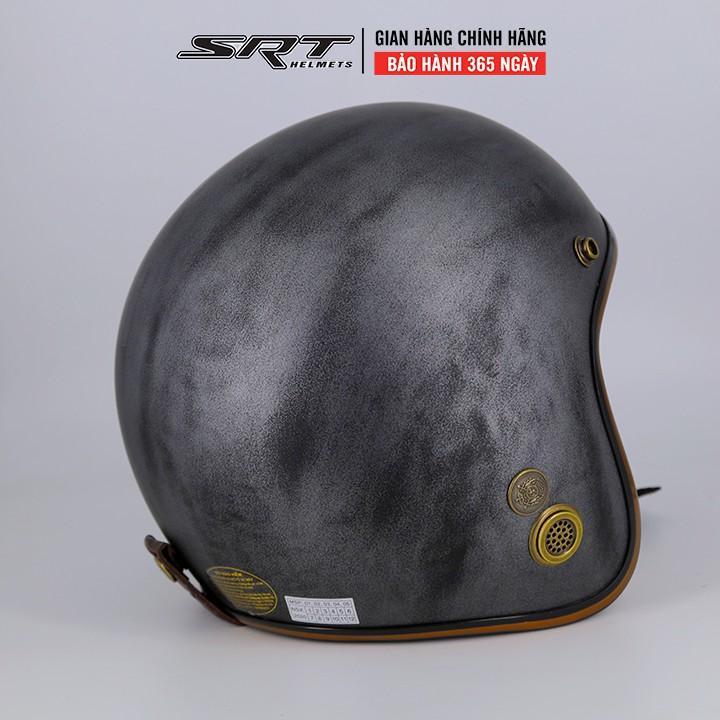 Mũ Bảo Hiểm 3/4 SRT- Viền Đồng - Custom Xám Xước
