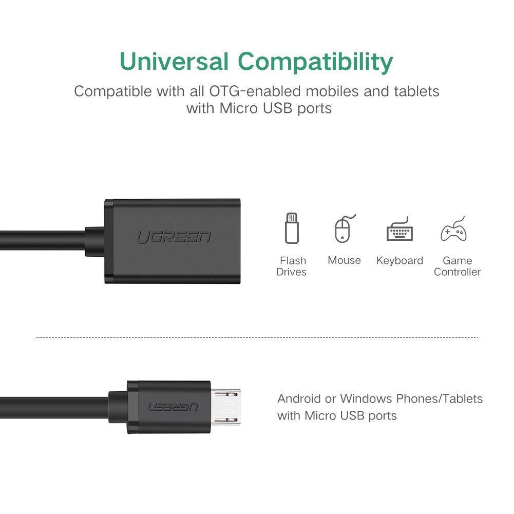 Dây Micro USB 2.0 OTG dạng tròn dài 12cm UGREEN US126 10396 (màu đen) - Hàng chính hãng