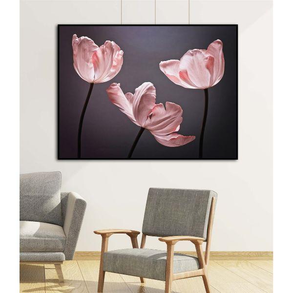 Tranh canvas hoa tulip hồng -trang trí treo tường