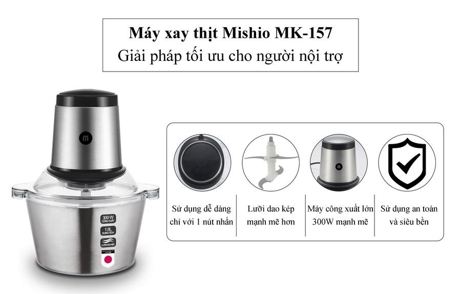 Máy xay thịt đa năng cối inox Mishio MK157 1.8L - Hàng chính hãng