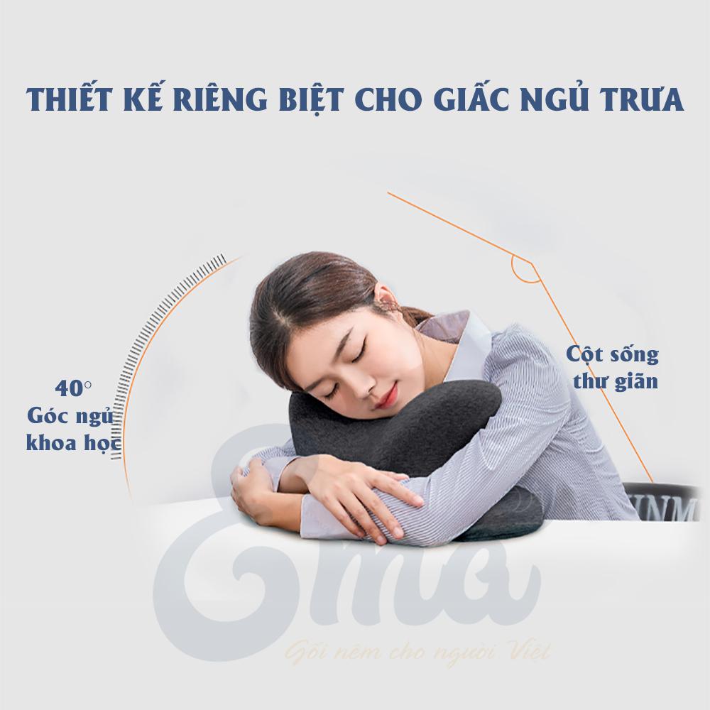 Gối ngủ trưa văn phòng Ema thế hệ thứ 3 - Không tê tay, không đau cổ, không tạo vết hằn trên mặt  - Dành cho dân văn phòng, sinh viên...