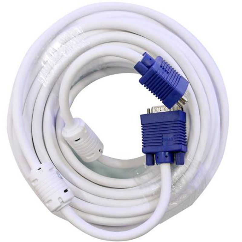 Cable tín hiệu VGA trắng 25M (2 cục chống nhiễu)