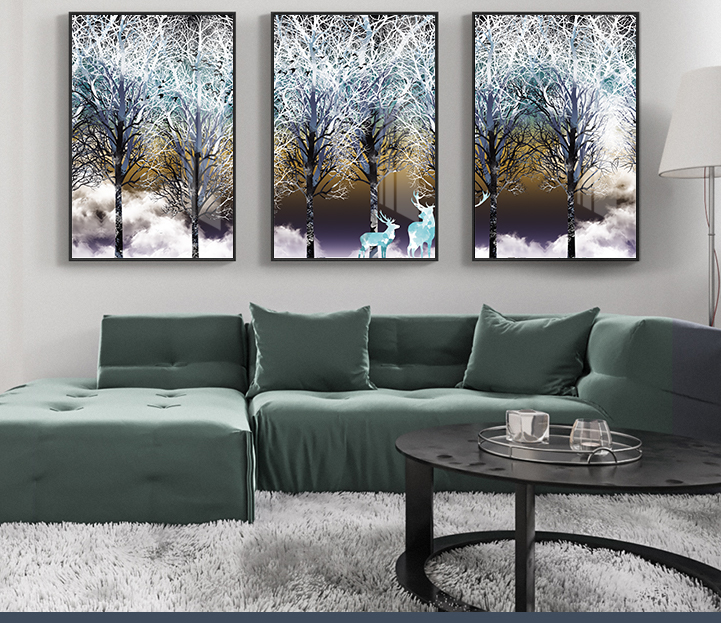 Tranh phong thuỷ Mica 3 bức Những chú nai trắng và rừng tùng phủ tuyết trừu tượng (Tùng Bách Mộc). Model: AZ3-0087. Khung nhôm hoặc Composite. Hình ảnh sắc nét, sang trọng, phù hợp nhiều không trang trí
