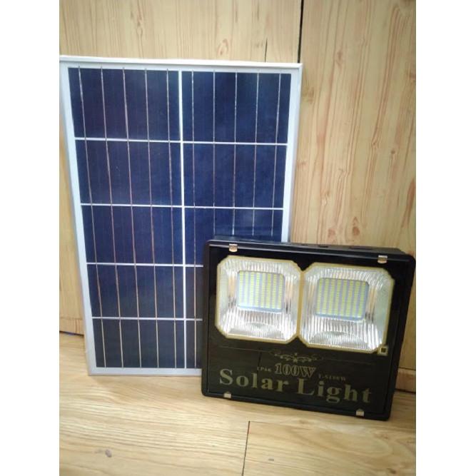 Led pha 100w năng lượng mặt trời, 2 chóa, siêu sáng