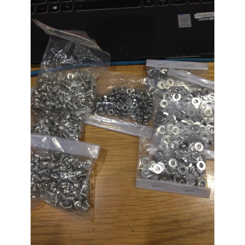 Ốc tán và long đền Inox 100 cai cho cell pin 32700