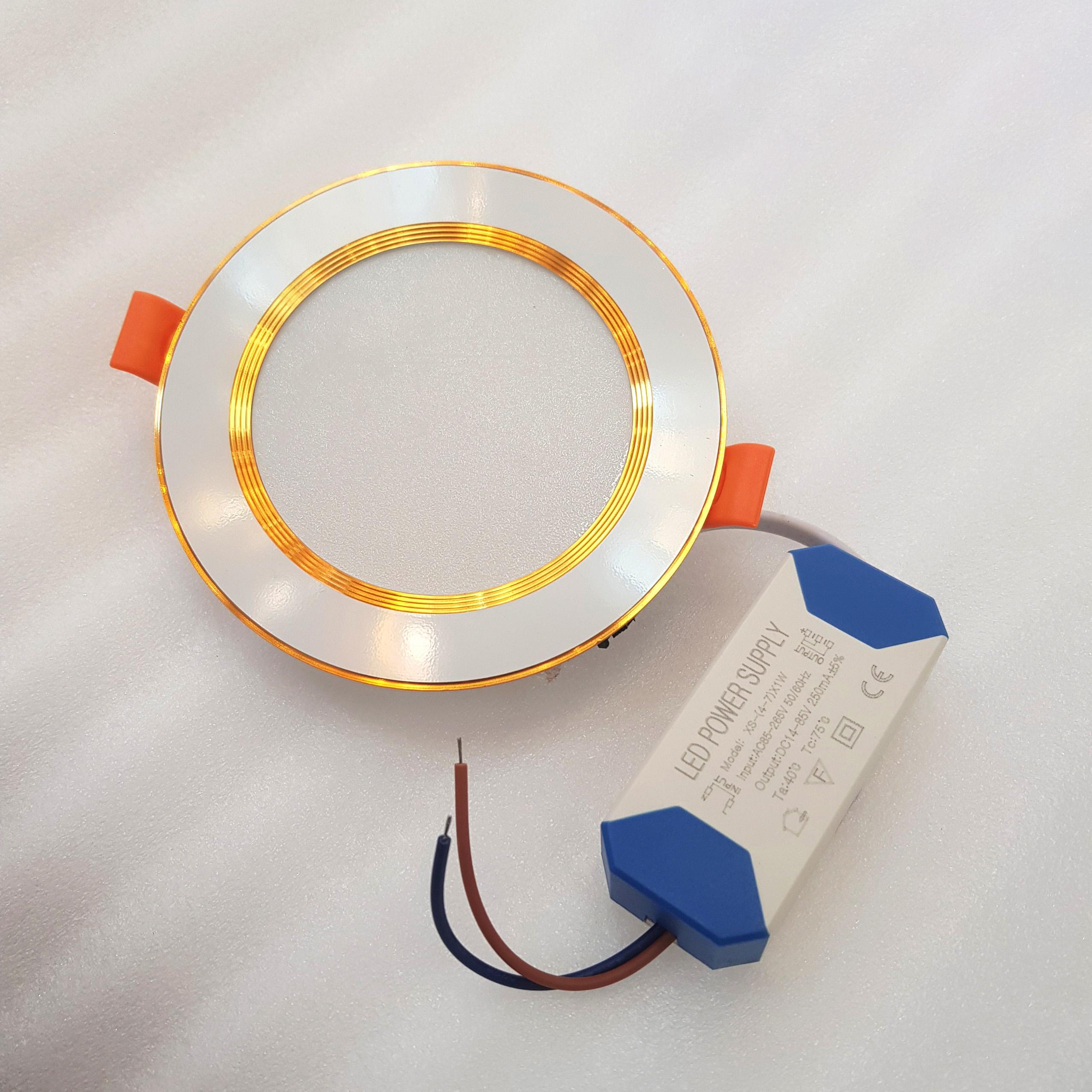 Comboo 10 đèn Led âm trần 7w viền vàng ( có 3 chế độ màu)
