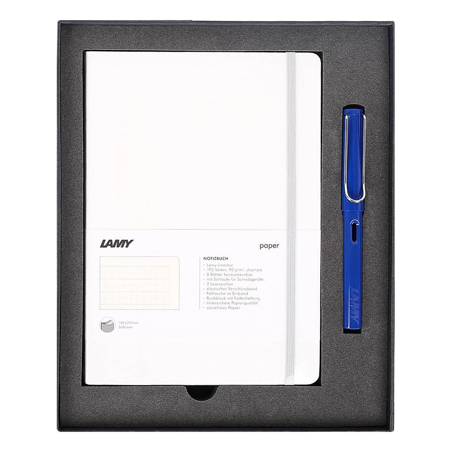Lamy Notebook A5 Softcover White + Lamy Safari Blue - GSNSa0026