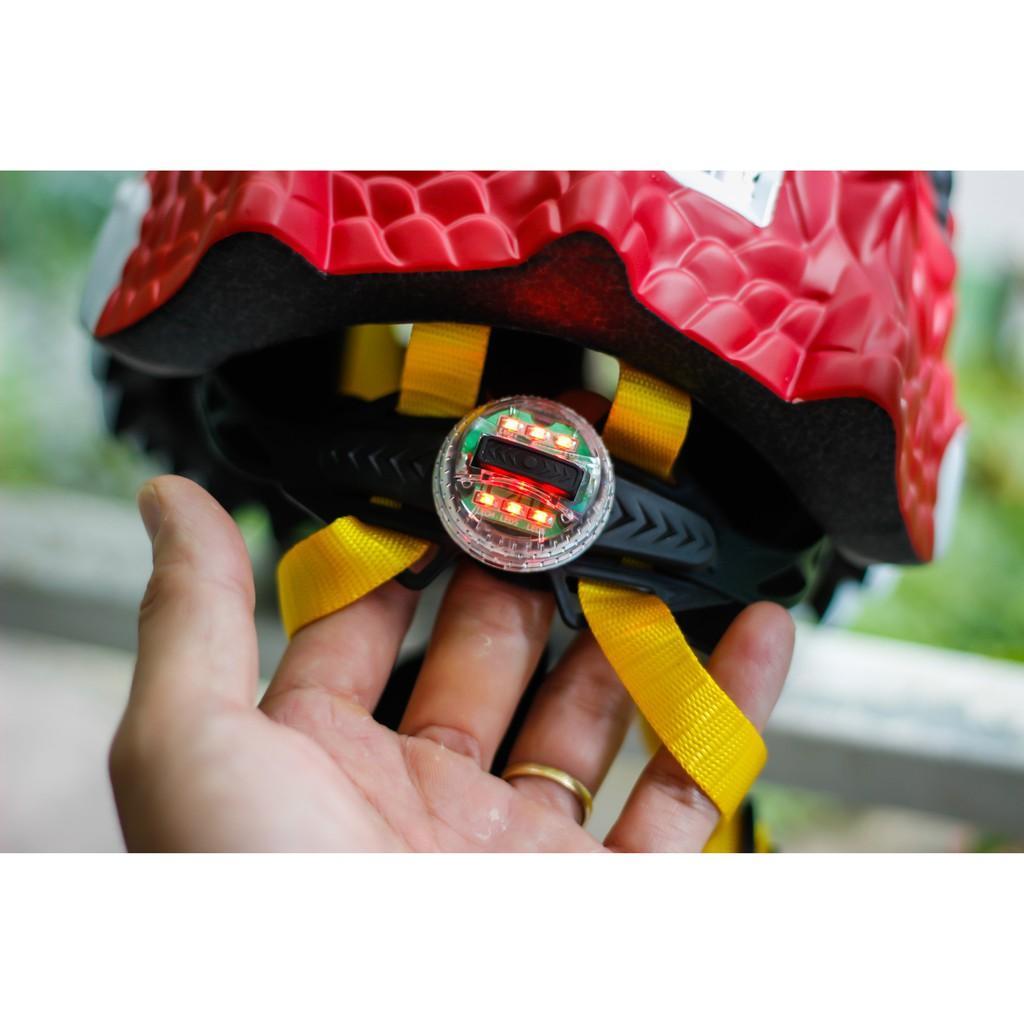 Nón bảo hiểm xe đạp thể thao BALDER DRAGON RED trẻ em cao cấp có đèn led