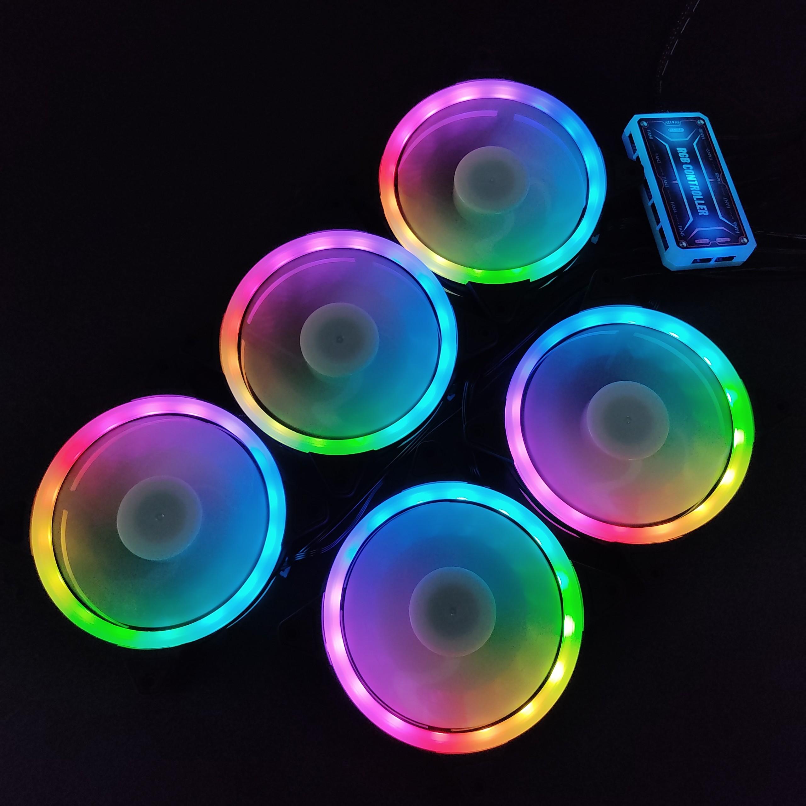 5 Quạt Tản Nhiệt, Fan Case KNC V2 Led RGB Dual Ring đồng bộ Hub điều khiển