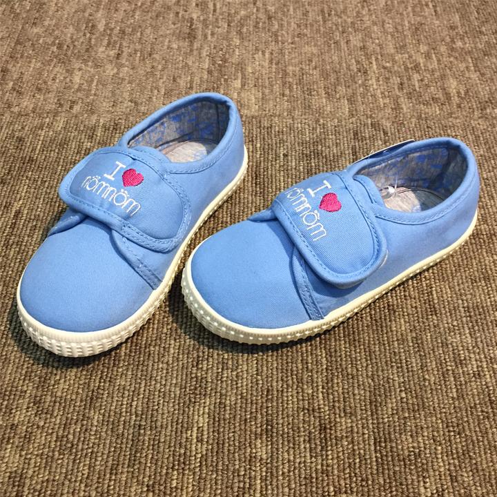 Giày vải bé gái có quai dán cao cấp màu xanh Mypa dễ thương chuẩn xuất khẩu Châu Âu, giày vải mềm cho bé gái siêu êm chân EPL122