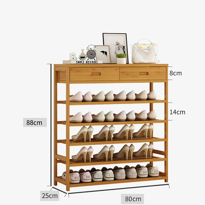 Kệ để giày dép gỗ tre cao cấp 5 tầng, 2 ngăn kéo RE0411