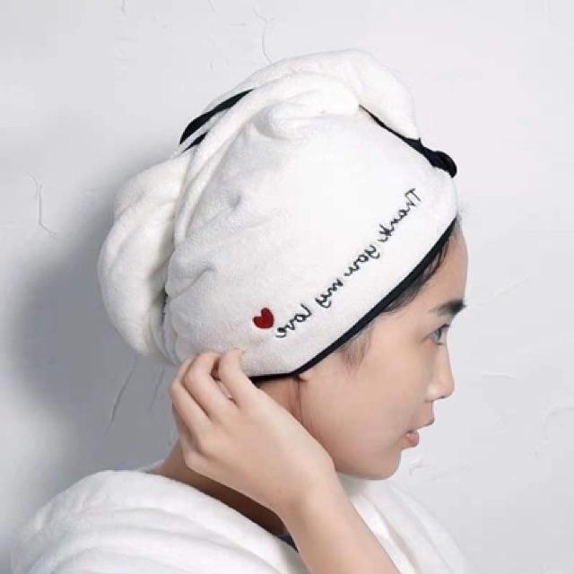 Khăn quấn tóc️SALE️Khăn quấn đầu siêu shấm hút,khô tóc siêu nhanh cho chị em sau khi tắm tiện dụng KQT01