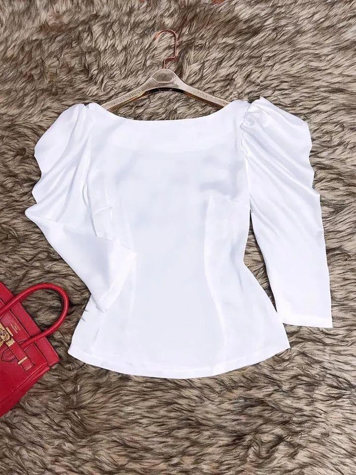 Áo nữ trắng tinh kiểu cổ oval tay phồng xinh xắn
