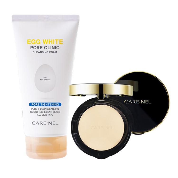 Combo Phấn Nền Nén Trang Điểm Carenel MOTD Shine Pact SPF50+/PA++ & Sữa Rửa Mặt Trứng Gà Da Mụn, Nhạy Cảm Carenel Egg White Pore Clinic Cleansing Foam