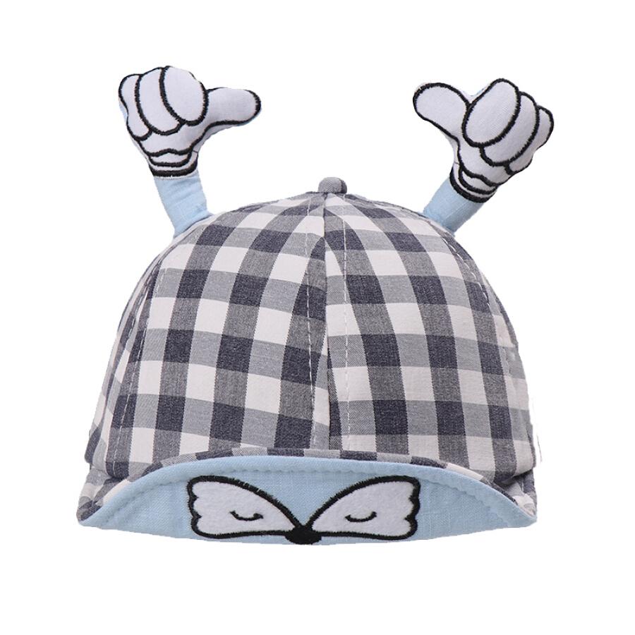 9i9 long love long baby baseball cap small fist thumb stereo childlike modeling sunshade hat lattice 1900164 gray
