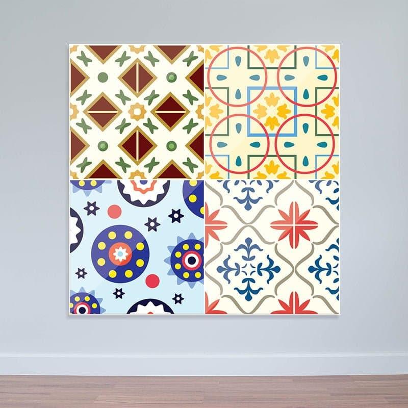 Decal gạch bông hoa văn cổ điển | Decal dán tường nhà bếp WD163