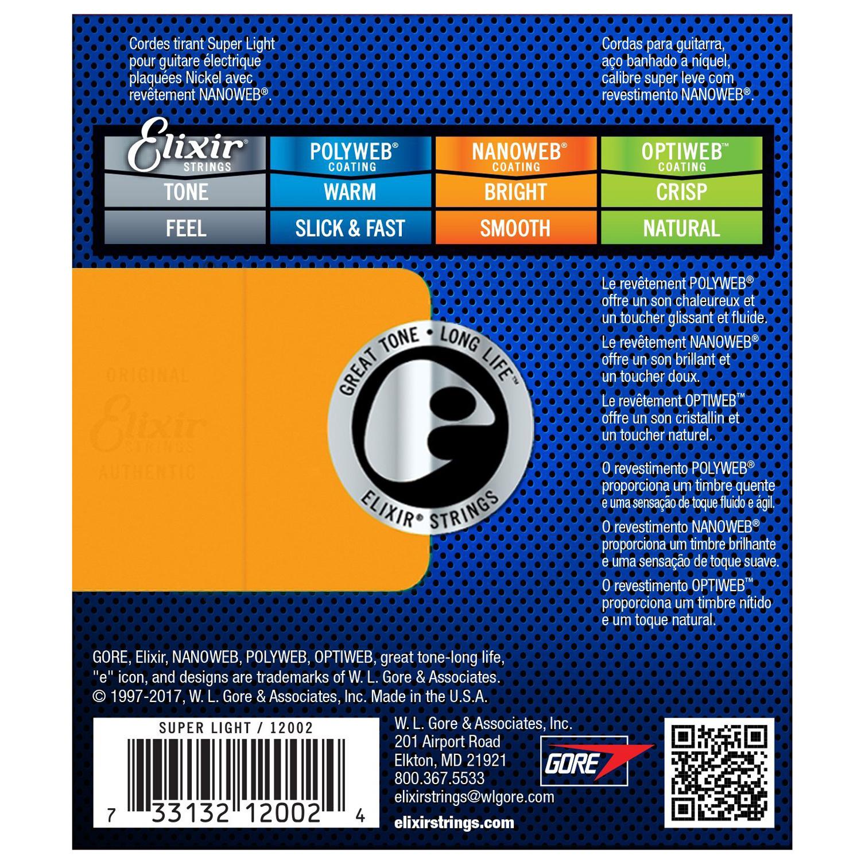 Elixir 12002 - Bộ Dây Đàn Guitar Điện Cỡ 9 (9-42) - Chính Hãng (Electric Strings Phủ Lớp Nanoweb) - Kèm Móng Gảy DreamMaker