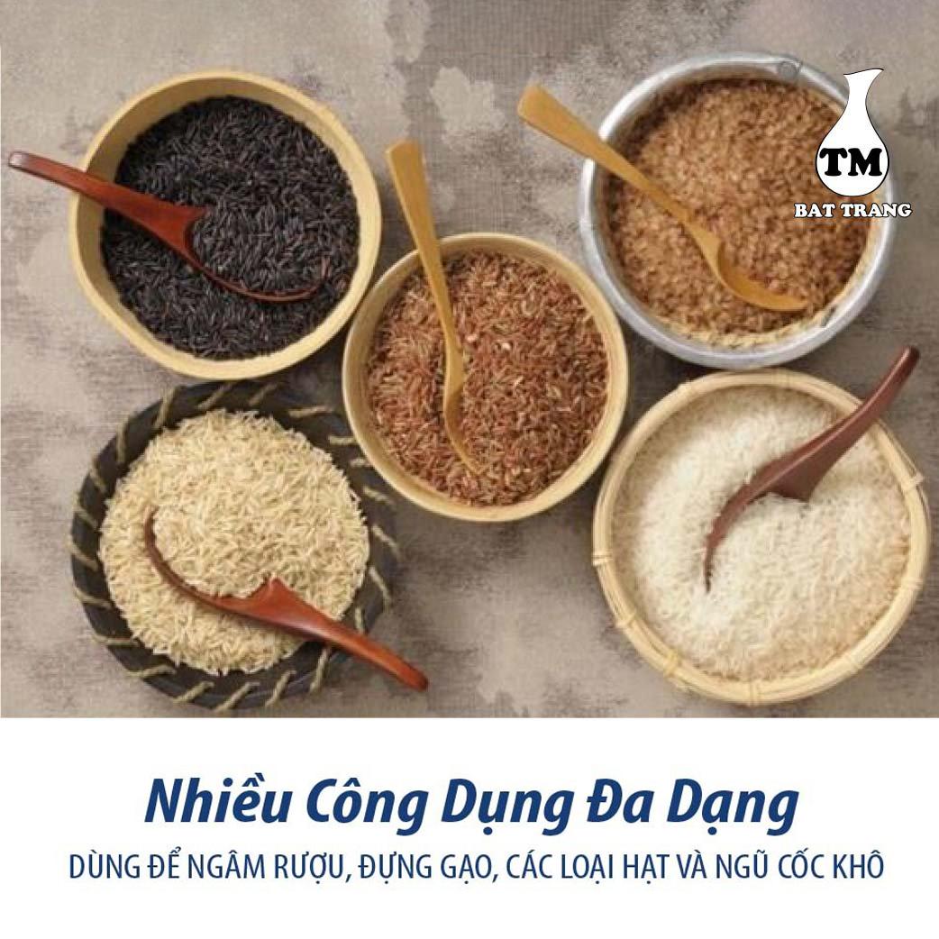 Hủ Sành Đựng Gạo Có Nắp Màu Nâu Đỏ Gốm Sứ Bat Trang