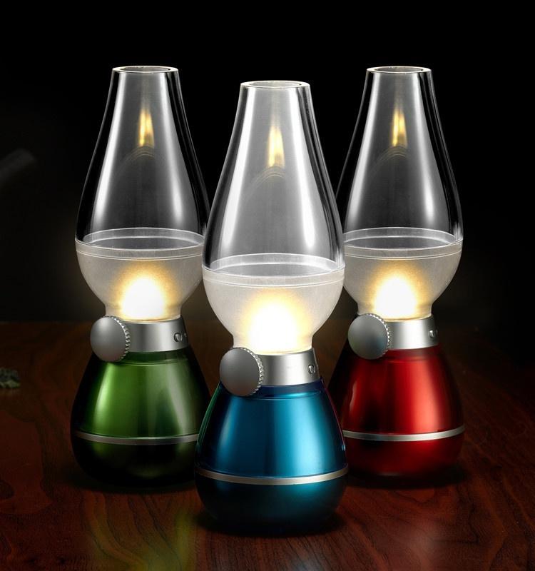 Đèn Dầu Cảm Ứng Điện Tử LED Thổi Bật/Tắt, Sử Dụng Pin Sạc (Giao màu ngẫu nhiên)