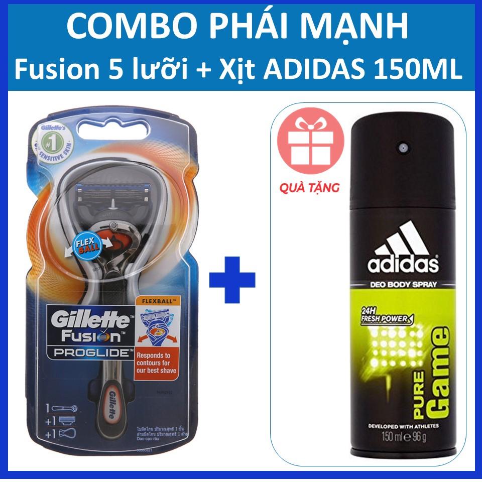 Combo hoàn hảo Gillette Fusion 5 lưỡi Flexball tặng kèm 1 xịt Adidas chính hãng thời thượng 150ml