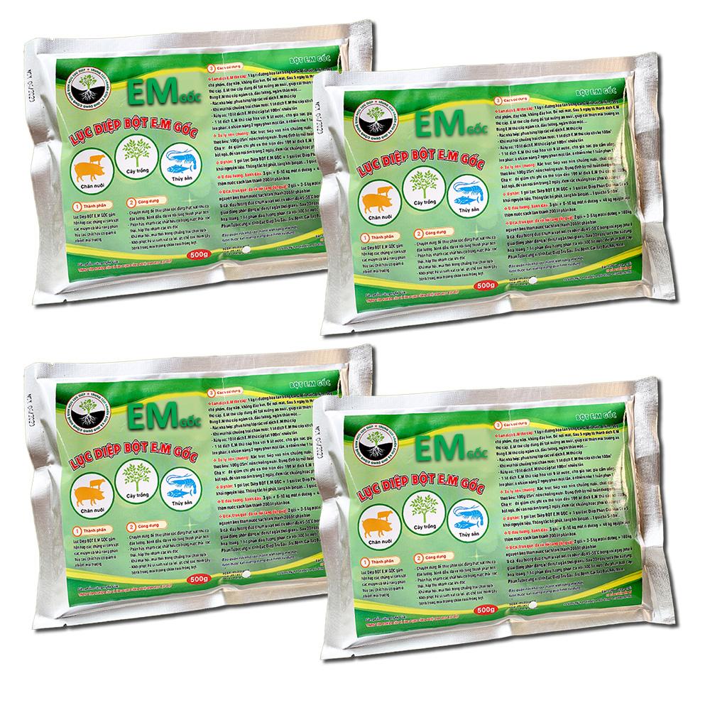 Combo 4 gói Chế phẩm sinh học EM gốc 500g - Chứa hàng tỷ vi sinh vật có lợi - Men vi sinh ủ cá, rác bã hữu cơ làm phân bón - Xử lý mùi hôi