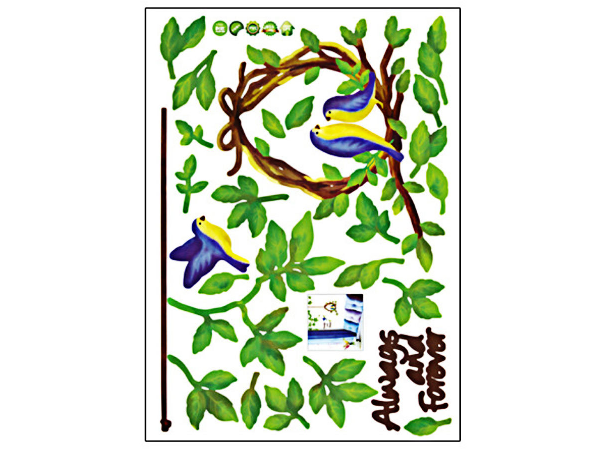 decal dán tường vòng lá chim xanh