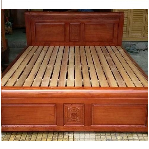 Giưởng ngủ gỗ xoan đào lào 1m6 kiểu hoa sen