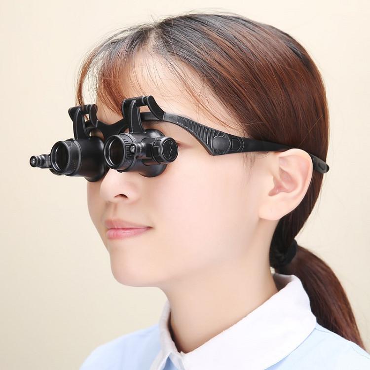 Kính lúp 8in1 đeo mắt xoay 180 độ, có đèn led trợ sáng cao cấp (Tặng ví thép đa năng 11in1)