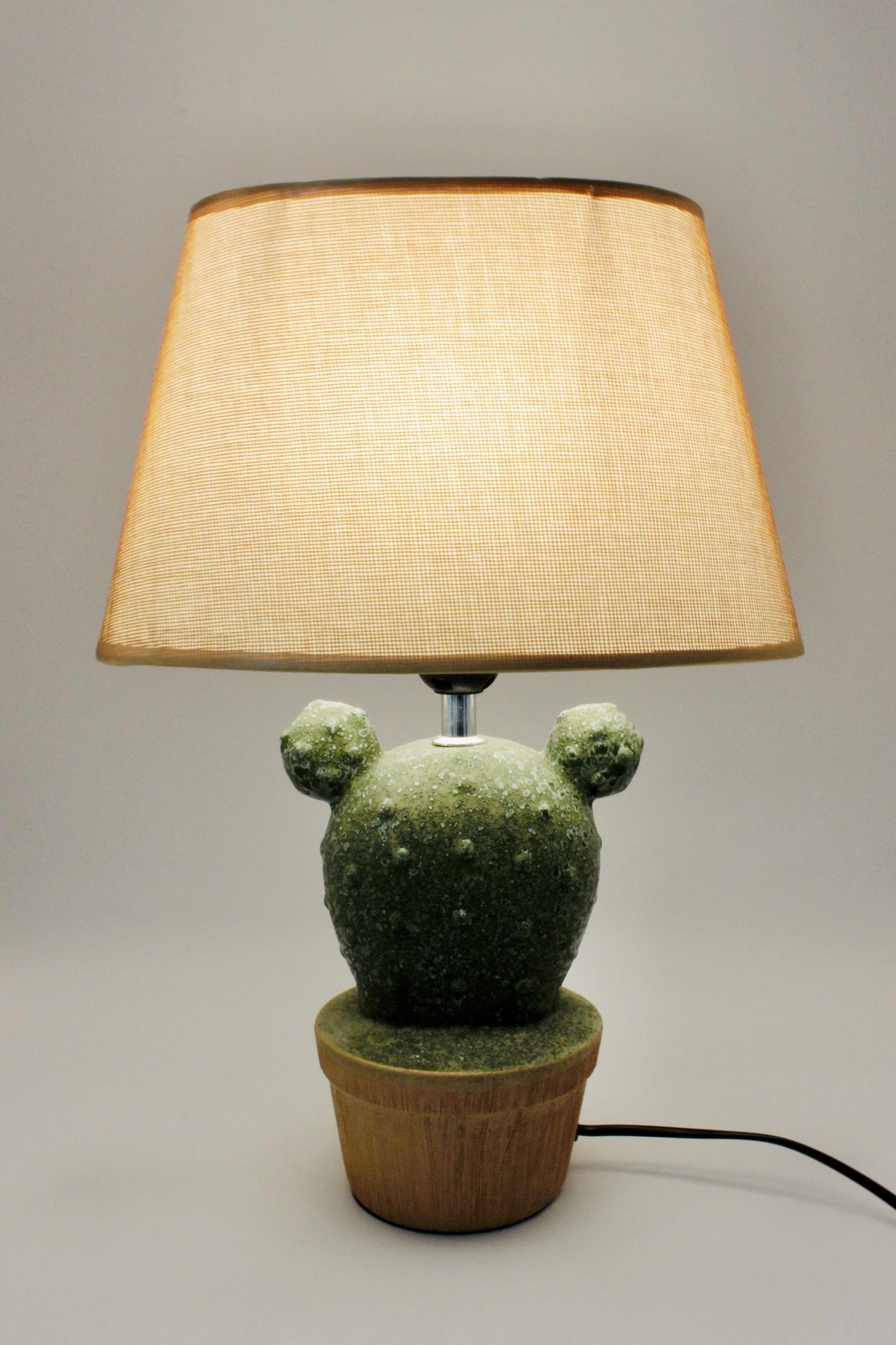 Đèn bàn thân gốm hình chậu cây xương rồng đáng yêu DY17512