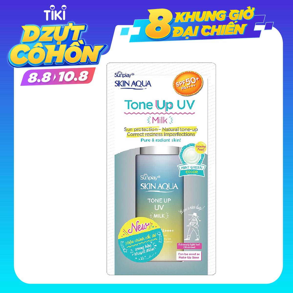 Hình ảnh Sữa chống nắng nâng tông dành cho da dầu/hỗn hợp Sunplay Skin Aqua Tone Up UV Milk (Mint Green) (dành cho da sáng, có khuyết điểm đỏ) (50g)