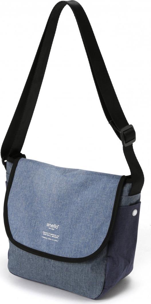 Túi đeo chéo ANELLO unisex vải polyester cỡ nhỏ AT-N0661 - Màu Xanh Denim
