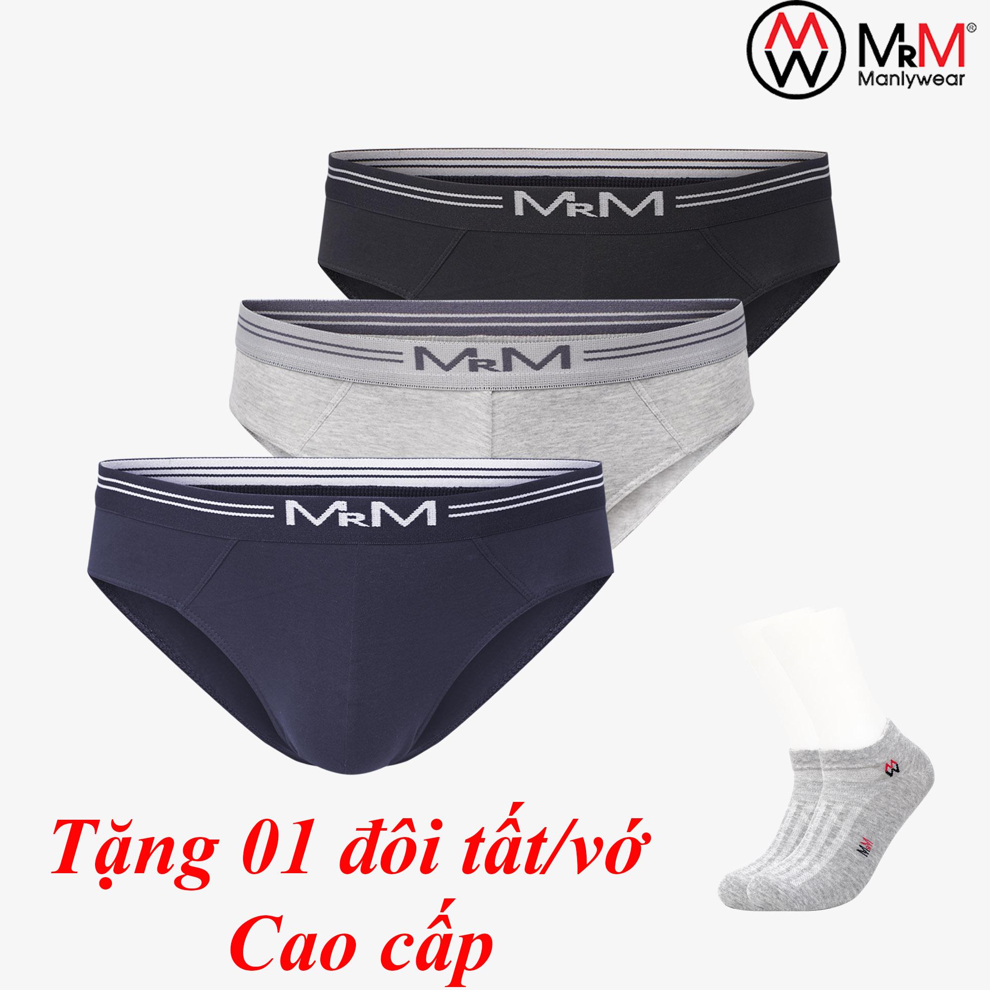 Combo 3 quần lót nam sợi cotton Organic mềm mịn thoáng mát co giãn 4 chiều MRM Manlywear (TẶNG Đôi Tất Nam Cao Cấp màu ngẫu nhiên)