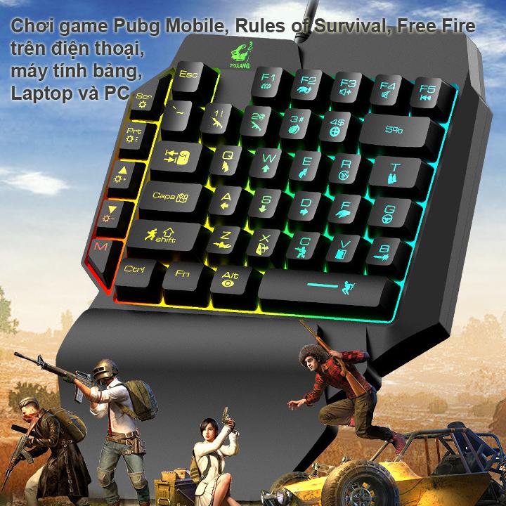Combo Bàn Phím Bán Cơ FREE WOLF K15 + Chuột chuyên game 6D  LED 7 màu T06