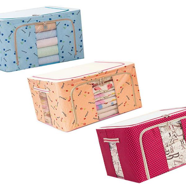 Bộ 3 hộp vải đựng đồ, chăn màn, quần áo khung sắt tiện dụng
