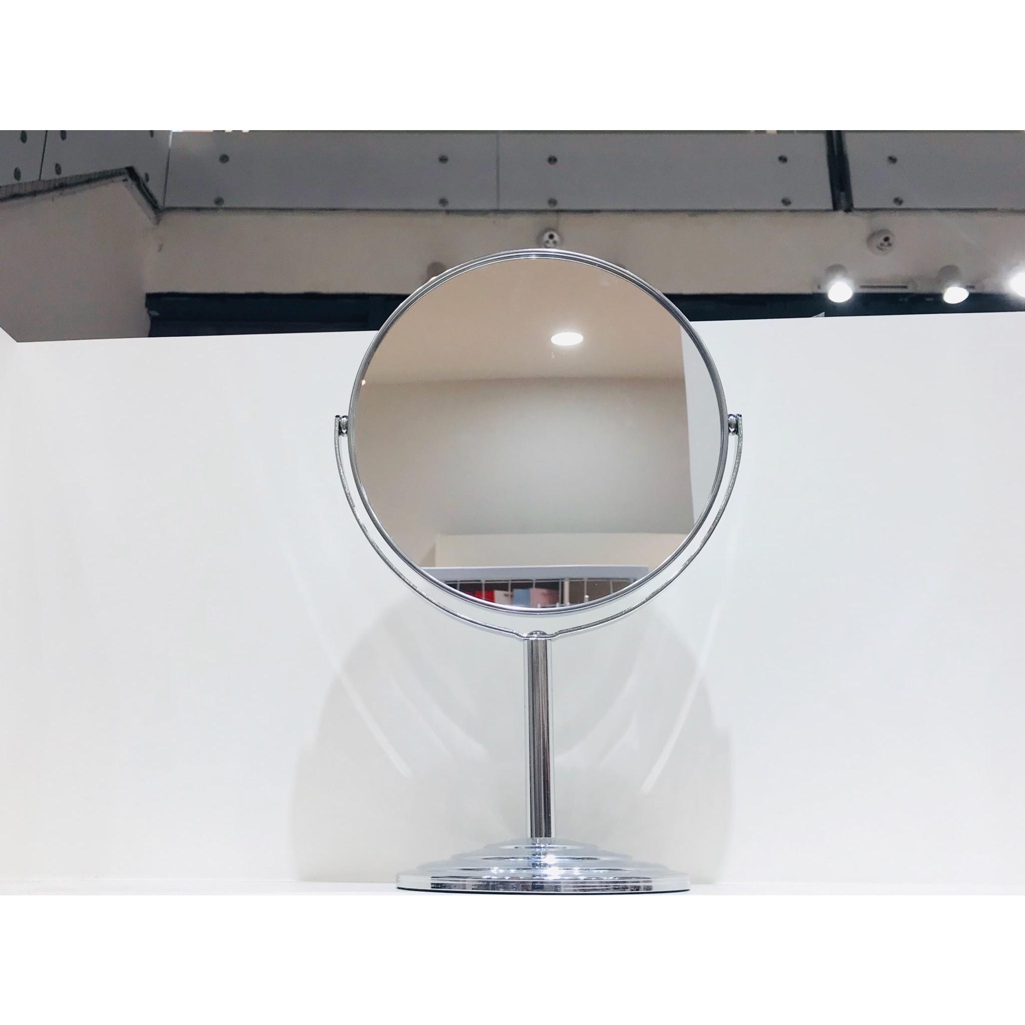 Gương để bàn tròn inox 2 mặt cao cấp