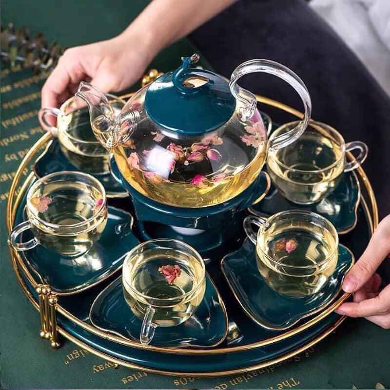 Bộ ấm chén trà thủy tinh nắp xanh