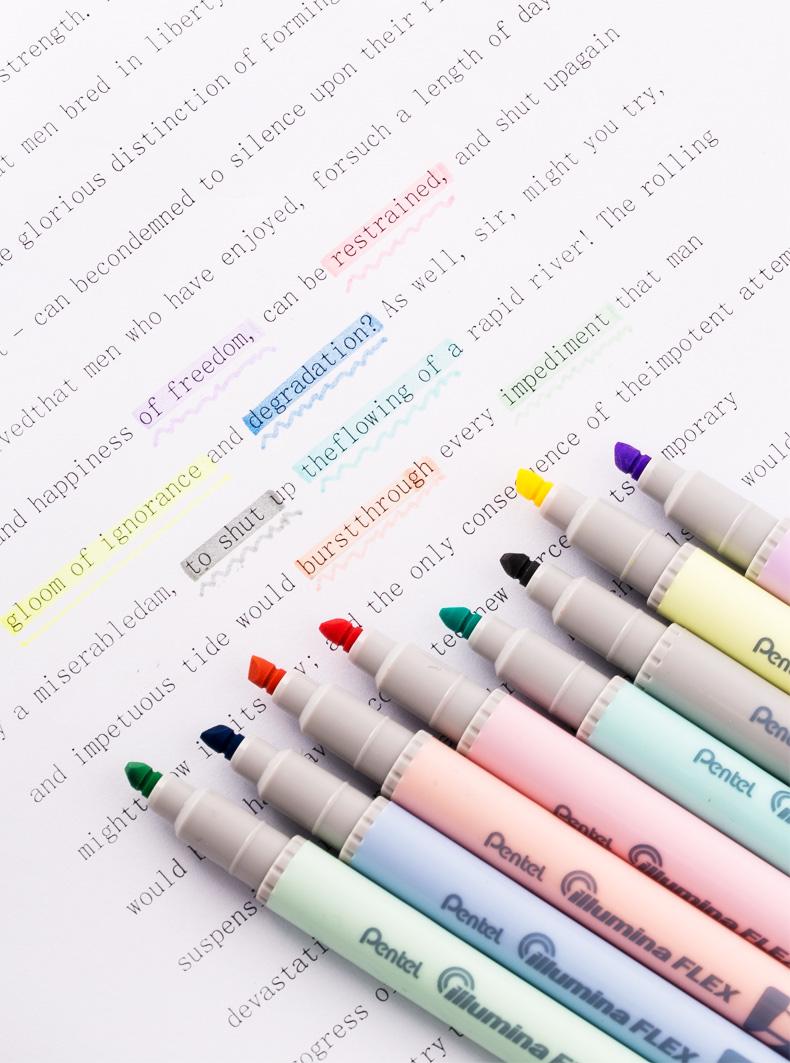 Bộ 8 bút đánh dấu Pentel Illumina Flex Twin Tip Highlighter - Bold/Five