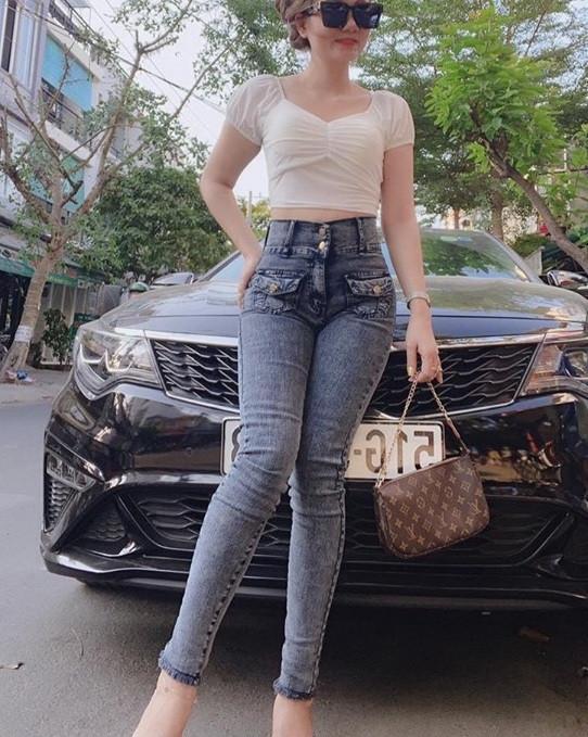 Quần Jeans Nữ Lưng Siêu Cao Phối Túi Hộp Thời Trang