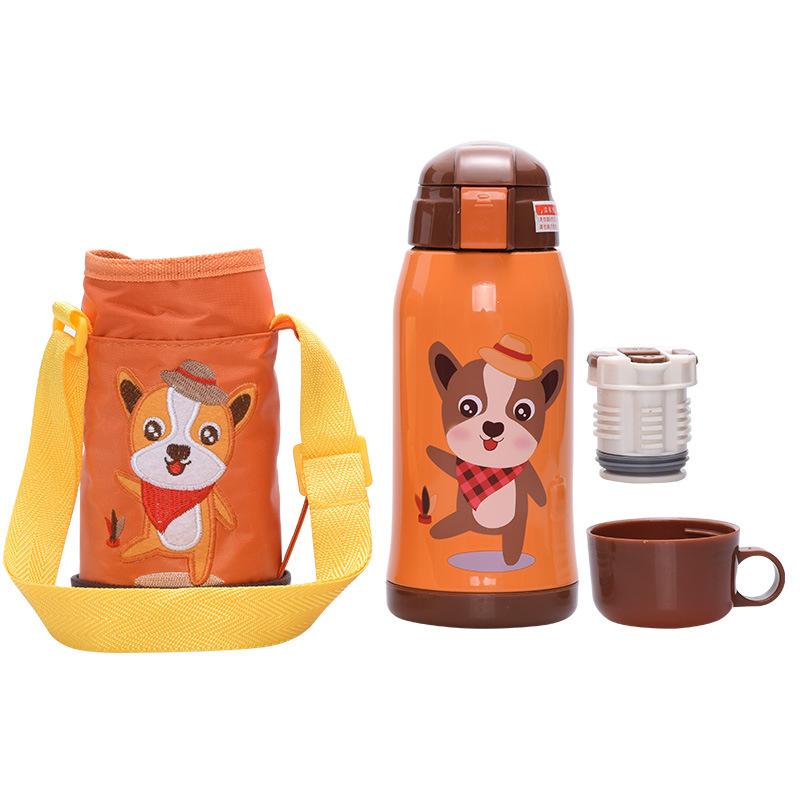 Bình giữ nhiệt inox Animal cute kèm túi vải xách tay 600ml