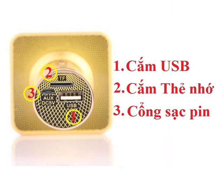 Micro karaoke SD08 Auth  kèm loa bluetooth thẻ nhớ USB 3 TRONG 1 PF72
