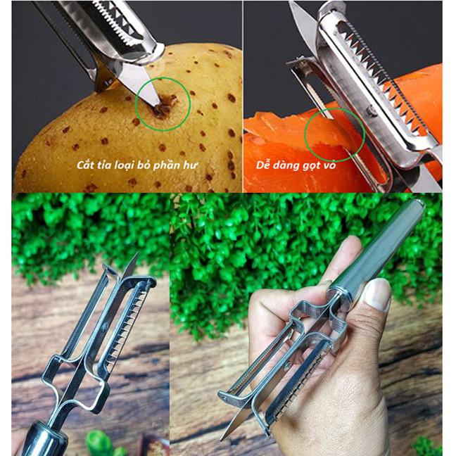 Dao Bào Gọt KHOAI TÂY ĐA NĂNG 3IN1 INOX. Dụng cụ GỌT VỎ, BÀO SỢI, Đỉnh dao dùng cắt loại bỏ phần hư RAU CỦ QUẢ. Dụng cụ nhà bếp TIỆN LỢI