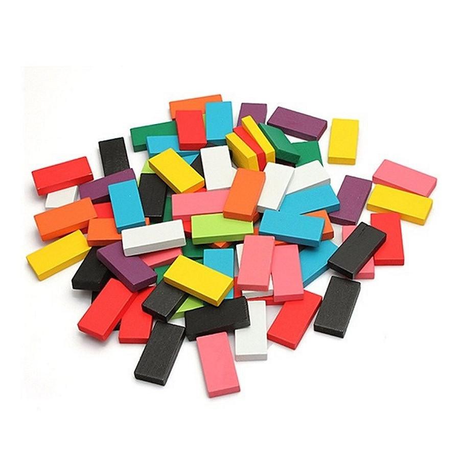 Bộ đồ chơi Domino bằng gỗ nhiều màu 100 quân tặng thêm 20 quân - đồ chơi giáo dục