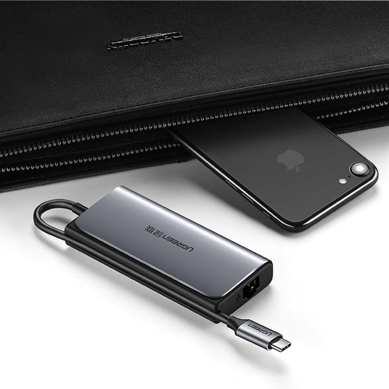 USB-C to LAN 100/1000Mbps Kèm HUB 3 Cổng USB 3.0 Ugreen 50252 - Hàng Chính Hãng