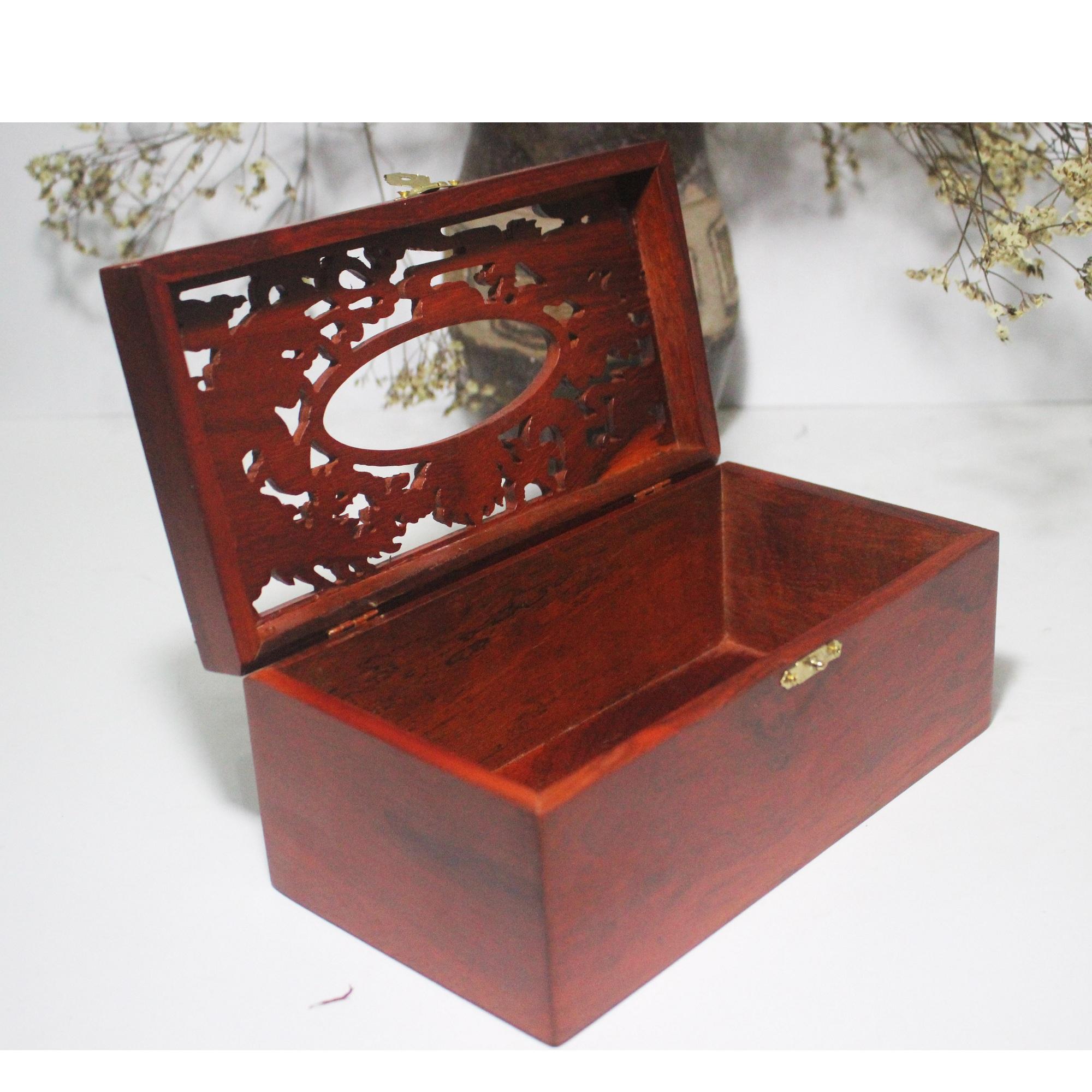 Hộp đựng giấy ăn Long Phụng gỗ hương - HG17H