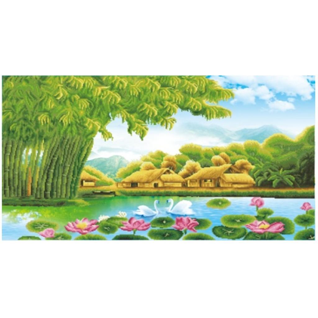 Tranh thêu chữ thập phong cảnh làng quê Việt ( chưa thêu)-X8115